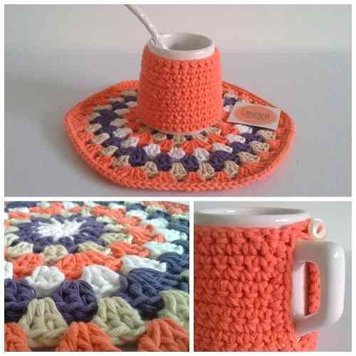 Mate Cerámica Abrigadito Con Funda Crochet Y Posapava - $ 240,00