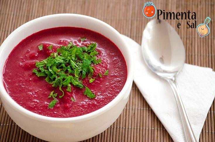Receita de Sopa fria de beterraba, uma receita nutritiva, colorida, refrescante para o verão. Sopa fria de beterraba, Uma delícia. Sopa de beterraba fria