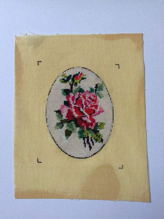 R Floral Needle point  50s rose