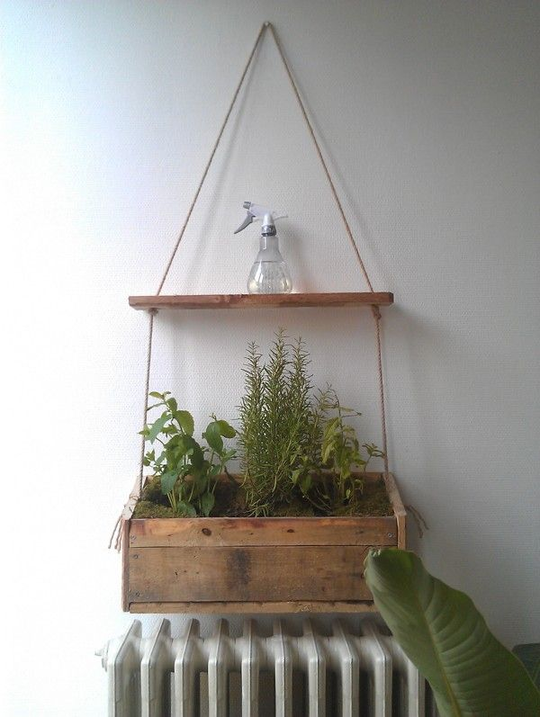 Built myself a herb hanger from pallet wood.
