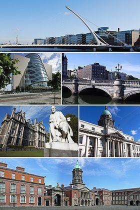 De haut en bas et de gauche à droite: Pont Samuel Beckett; Convention Center; IFSC; Four Courts; Custom House; Château de Dublin.