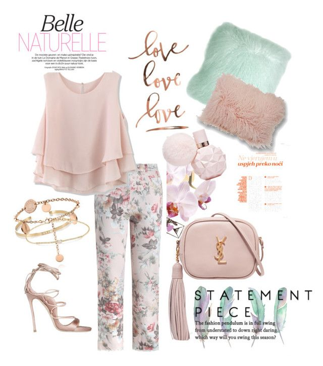 """#printedPastel"" by nancykou on Polyvore featuring Zimmermann, Dsquared2, Pillow Decor, Le Coterie, Yves Saint Laurent, Chicwish, Ileana Makri and Tate"