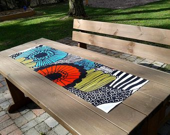 Modern Colorful Table Runner Made From Marimekko Fabric Siirtolapuutarha,  Narrow Tablecloth Centerpiece Topper, Scandinavian