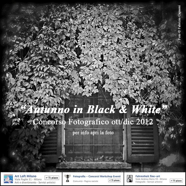 """Iscriviti gratuitamente al #Concorso Fotografico #Autunno in Black & White"""" con Premio e Mostra a Milano. Repin Please :) >  http://www.facebook.com/Fotografia.Concorsi"""