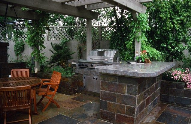 Stone Tile, Tiled Bbq Outdoor Kitchen Maureen Gilmer Morongo Valley, CA