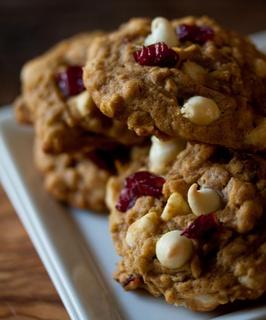 Pumpkin oatmeal white chocolate chip craisin cookies!