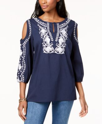 d5692e6fb2f5a Charter Club Cotton Embroidered Cold-Shoulder Peasant Top