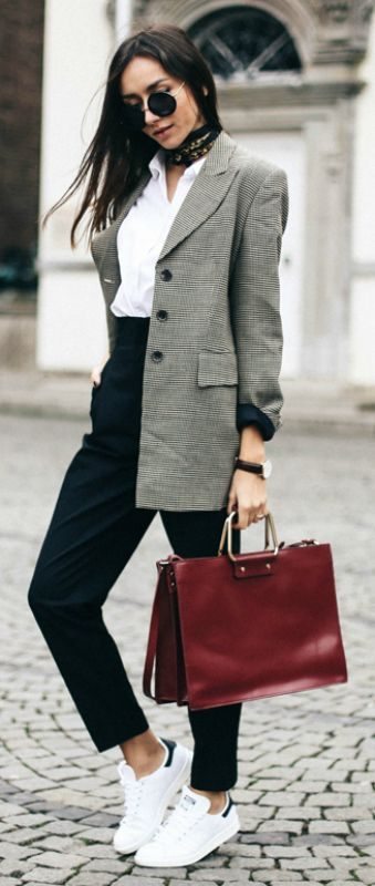 Try accessorising a smart blazer and slacks outfit with a sophisticated neck tie like Beatrice Gutu   to get that edgy, individual feel.   Blazer: Cerruti 1881, Shirt: Asos, Trousers: Zara, Sneakers: Stan Smith, Bag: Zara, Watch: Daniel   Wellington. Little Neck Scarf Outfits.