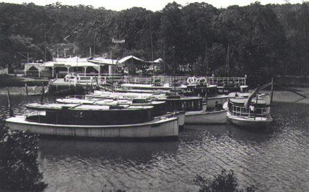 """Picnic boats drawn up at """"Fairyland"""" wharf, around 1930"""