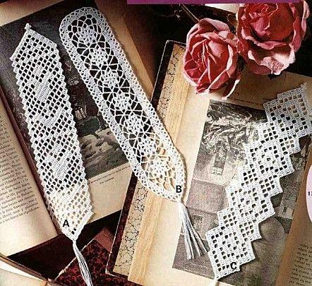 Filet crochet bookmarks