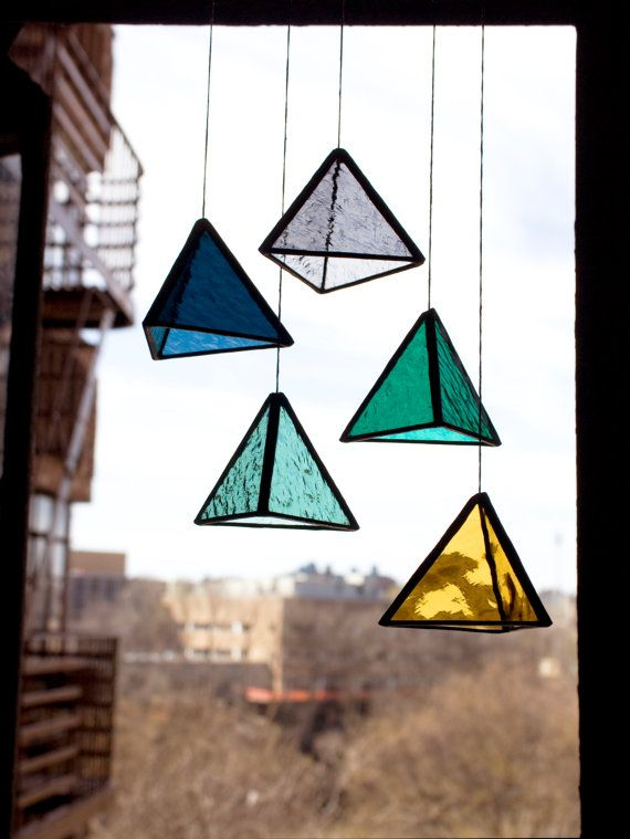Stained Glass TRI Elements set of 5 by BespokeGlassTile on Etsy