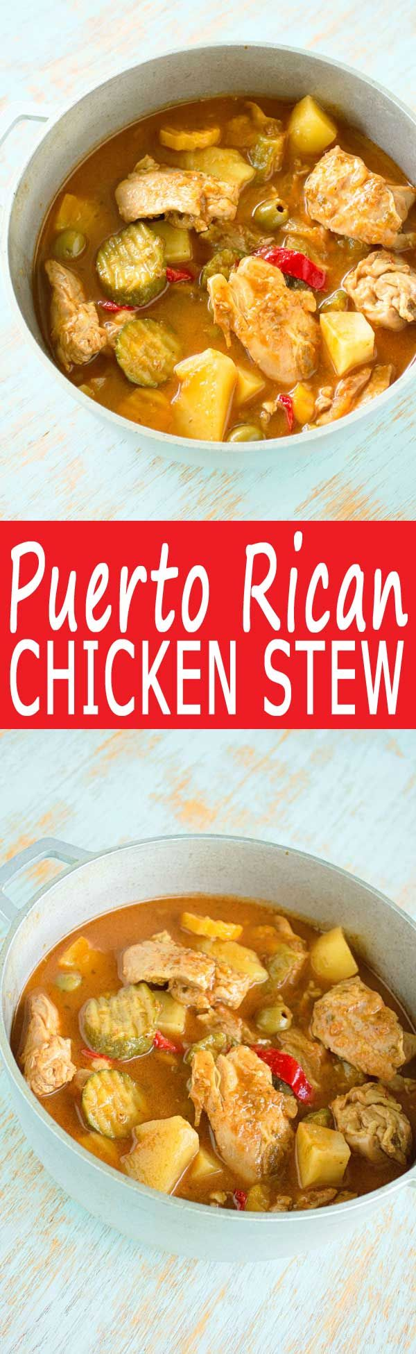 Puerto Rican Chicken Stew (Guisado de Pollo or Pollo en Fricase) with sofrito, tomato, potatoes and olives (Mexican Recipes With Chicken)
