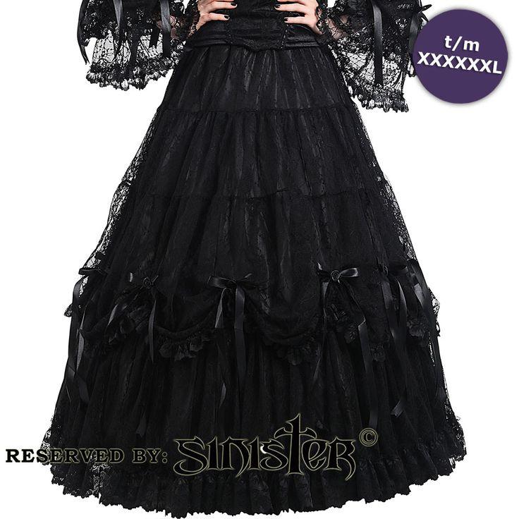 Lillian satijnen lange rok met kant en strik rozen detail zwart - Gothic Halloween - S - Sinister