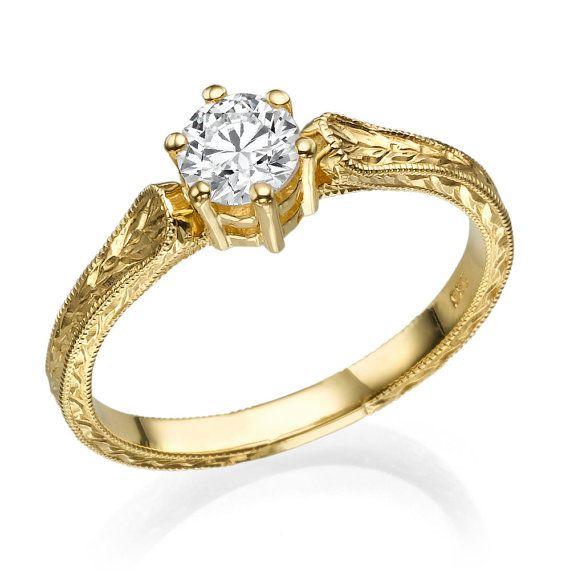 Filigree Engagement Ring, 14K Gold Ring, 1 CT Hand Engraved Ring, Art Deco Ring, Unique Engagement Ring, Vintage Ring Setting