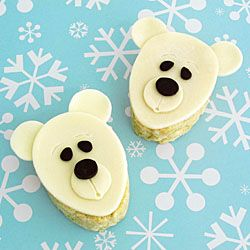 Polar Bear Rice Krispies TreatsSweets Design, Polar Bears, Edible Crafts, Bears Treats, White Chocolate, Rice Krispies Treats, Bears Rice, Rice Crispy Treats, Rice Krispie Treats