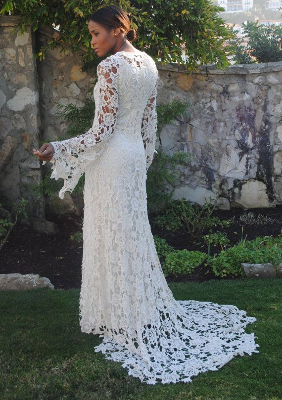 Hippie Boho Wedding Dress With Train BOHO WEDDING DRESS