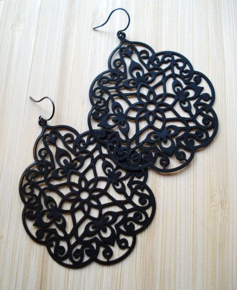 Black Lace Earrings Bold Earrings Statement Jewelry by IrinSkye, $16.00