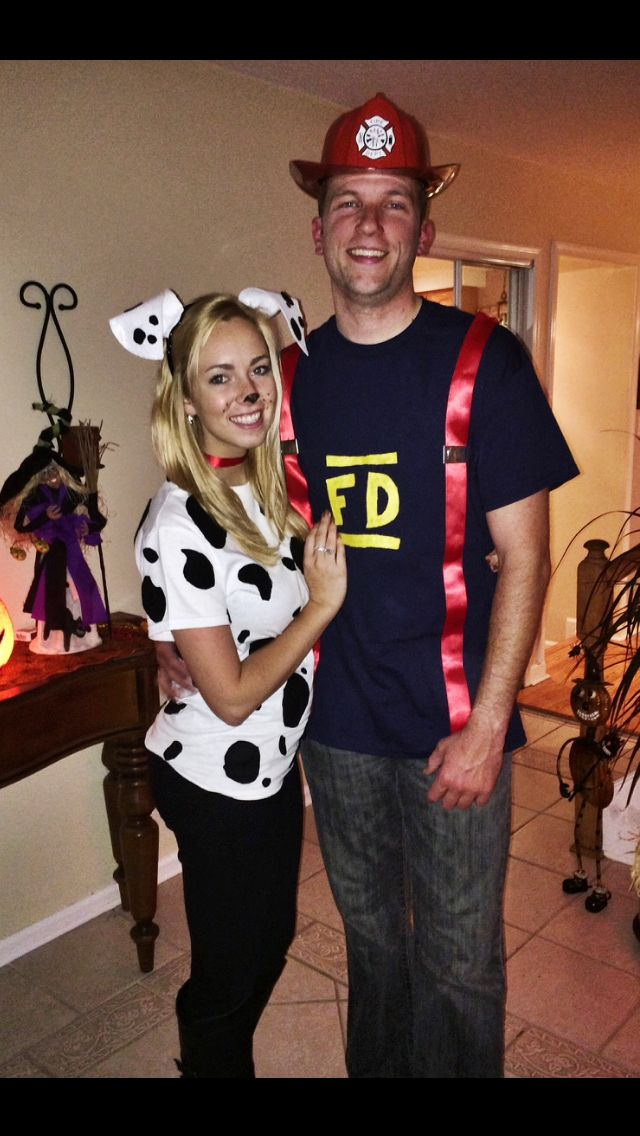 Dalmation and firefighter halloween costume Couple