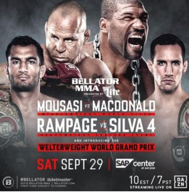 It S Fight Day Mma Fans Bellator 206 Goes Down Tonight Check Out The Main Card Now Gegard Mousasi Vs Rory Macdonald Quint Rampage Jackson Mma Ufc