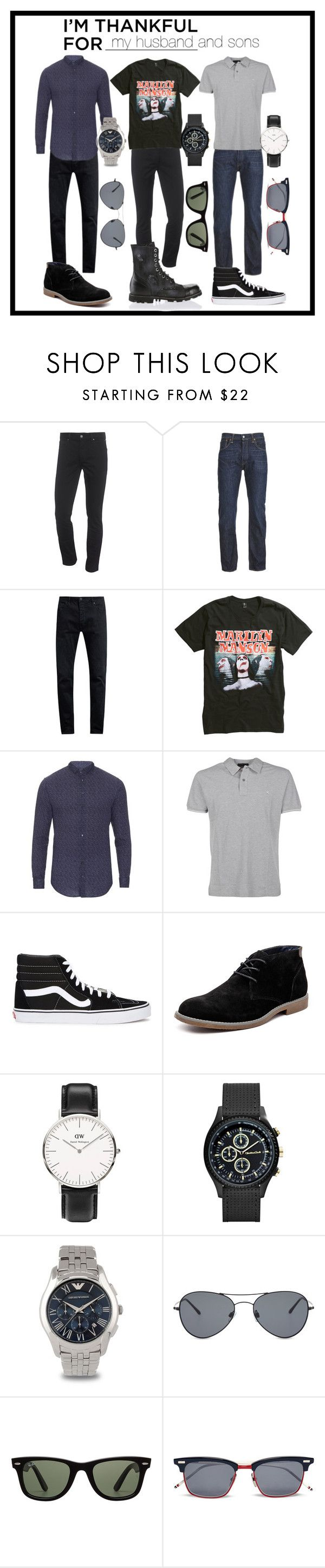 """""""I 'm thankful for my boys"""" by kc-spangler ❤ liked on Polyvore featuring Calvin Klein Jeans, Levi's, Neuw denim, Giorgio Armani, Etro, Vans, Hush Puppies, Daniel Wellington, Emporio Armani and Ray-Ban"""