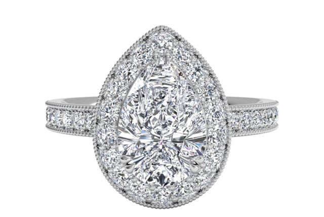 Vintage Halo Pear Shaped Diamond Engagement Ring with Surprise Diamonds in Palladium - art deco style