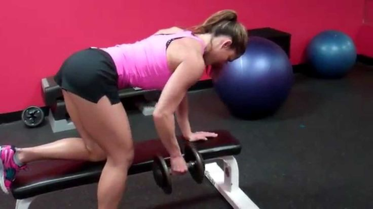 Erin Stern demonstrates 3 quick back exercises using dumbbells and a bench