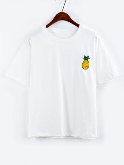 T-shirt ananas brodé manche courte -blanc -French SheIn(Sheinside)
