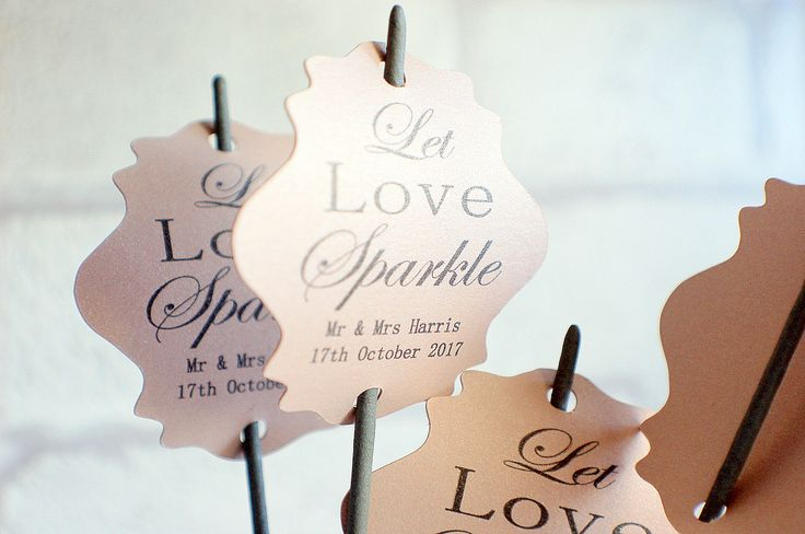 Let love sparkle tags, Pearlised Wedding tags, wedding sparkler tags, pearlised tags for sparklers, celebration wedding labels, by TPDWeddingStationary on Etsy