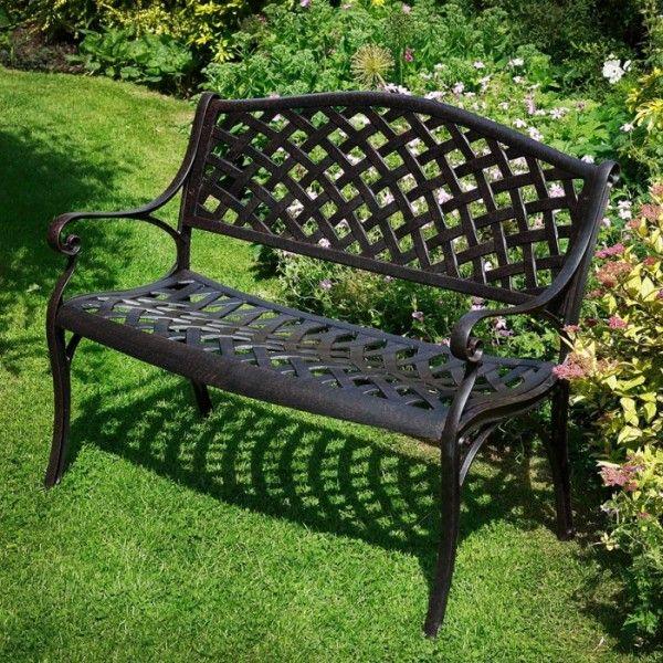 Fantastic Lattice Bench Design Cast Aluminium Garden Bench 103cm 60cm 85cm  · Metal Outdoor ...