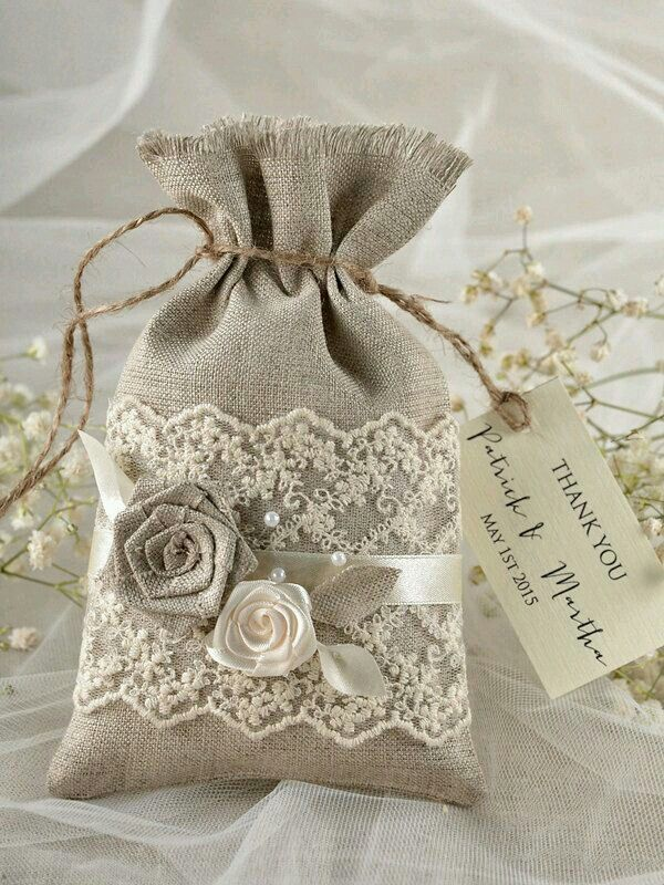 Natural Rustic Linen Wedding Favor Bag With Lace And Birch Bark Herat Thank You Gift