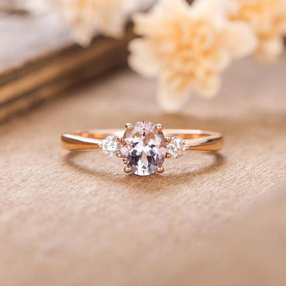 Rose Gold Engagement Ring Turquoise Promise Ring Art Deco Diamond