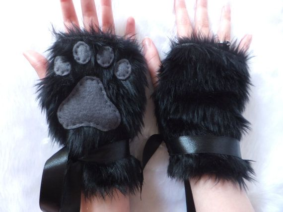 Cute Black & Grey Furry Wolf Fox Dog Cat Paw by KittenTreasures, £19.99