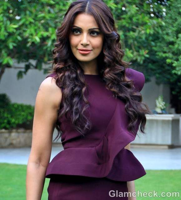 Bipasha Basu Classy in Purple Peplum Dress
