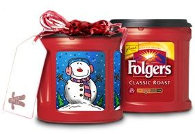 Recycle Folgers coffee containers for Christmas gift giving. First, soak in a vinegar and water solution to get rid of the coffee smell.