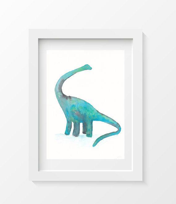 Dinosaur, Diplodocus, Watercolor Painting, Art Print  Watercolor Print