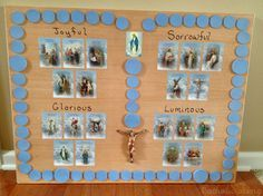 """How+to+make+a+Rosary+board+to+use+with+kids.+Move+a+Mary+statue+around+to+the+different+""""beads""""+as+you+pray.+Such+a+cute+idea!"""
