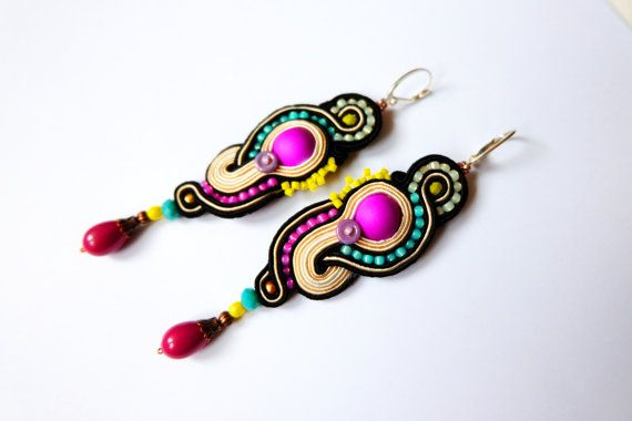 Long dangle drop boho ethnic soutache embroidered earrings colorful neon swirls eggshell, violet, pink, black soutache jewelry