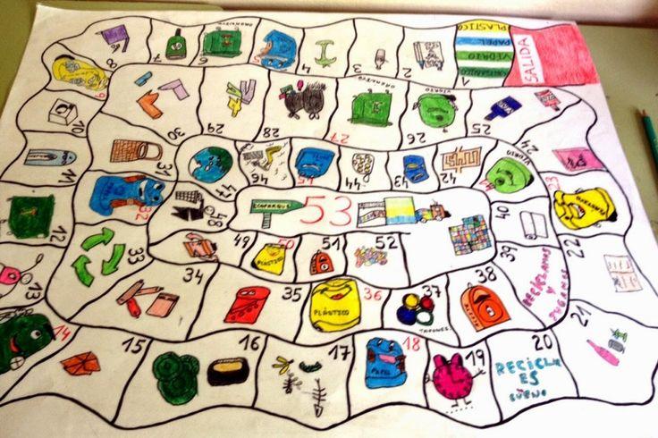 El juego de la oca del reciclaje: un juego reciclado que ayudara a los pequeños a aprender a reciclar reciclando... Creo que me he liado :S Imagen: bibliotecajmcalatrava