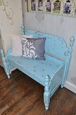 """Robin's egg blue"" effect on a bench made by melting wax in little drops, then painting over it, and then scraping off the wax to make it look speckled. The bench is made of a head board and foot board!"