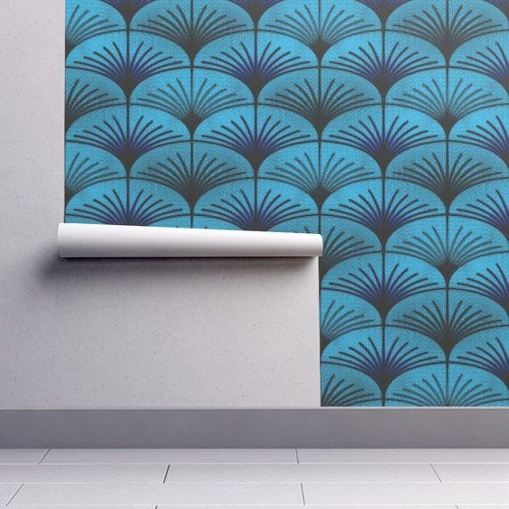 Art Deco Wallpaper Solace Of Wind By David Kent Collections Etsy Art Deco Wallpaper Wallpaper Self Adhesive Wallpaper