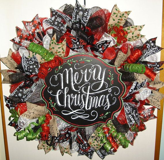 Merry Christmas Mesh Wreath Winter Wreath by StarlightWreaths