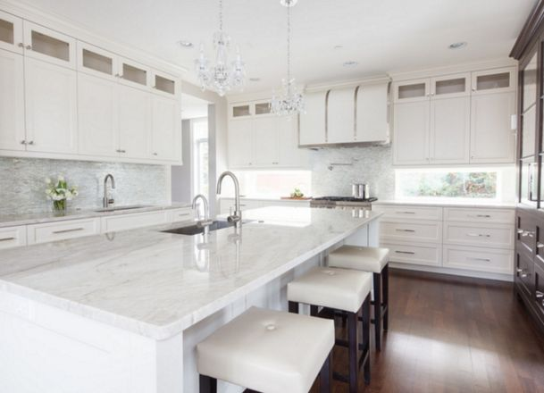 Marvelous Super White Quartzite Countertops | Designed By Amrami Design Group