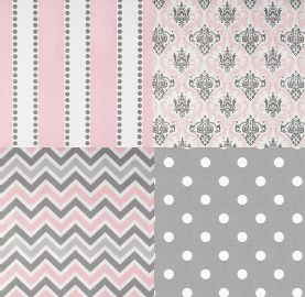 Pink and Grey Cotton Twill fabrics