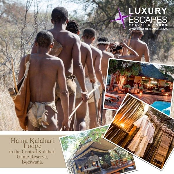 Haina Kalahari Lodge in the Central Kalahari Game Reserve, Botswana. Let your senses be pricked by the smells, sounds and sights of the Kalahari. Explore the Kalahari on foot, led by their resident San People who will take you on an authentic, adventurous and informative guided walk. www.luxuryescapes.co.za
