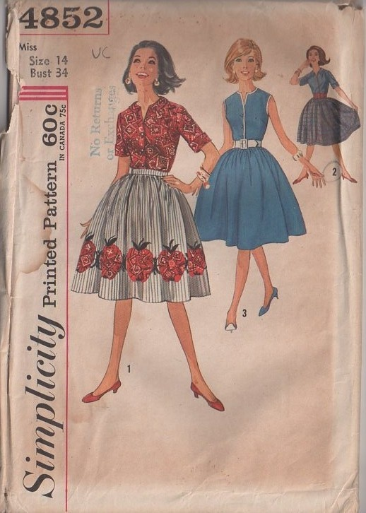 MOMSPatterns Vintage Sewing Patterns - Simplicity 4852 Vintage 60's Sewing Pattern JIM DANDY! Mad Men Housewife Bandana Print Apple Appliques Full Bell Shaped Skirt, Blouse, Band Trim Shirt, 2 Piece Dress Look