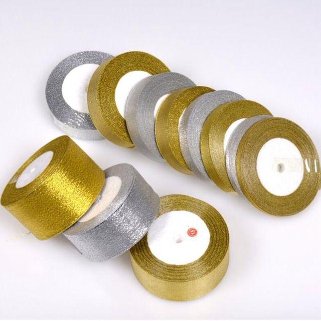TQ Блеск Золотой Серебряная Лента 15 мм 25 М 22 М Металлический Блеск Свадебные Украшения DIY Пригласительный Билет Подарочная упаковка Riband