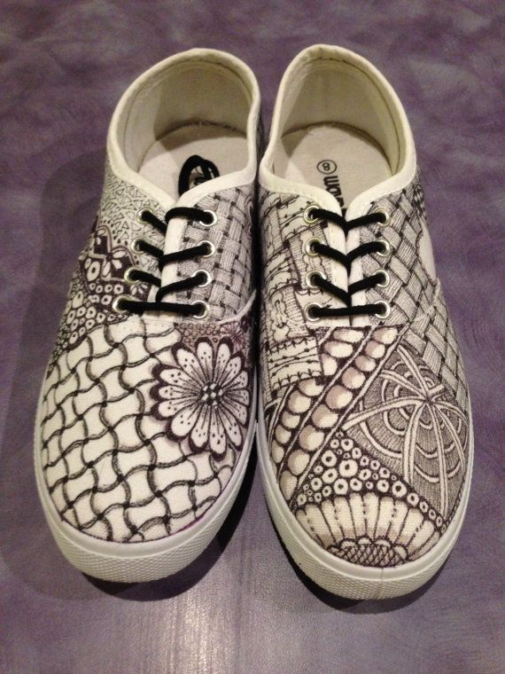 Zentangled pattern customised canvas shoes, soles with a difference