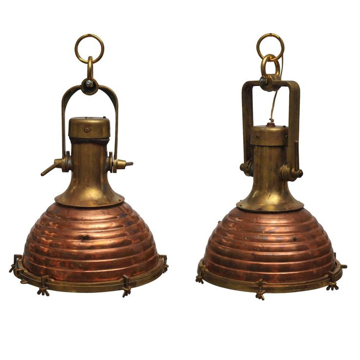 Pair of Rare Large Copper and Brass Ship's Deck Lights, Mid-Century