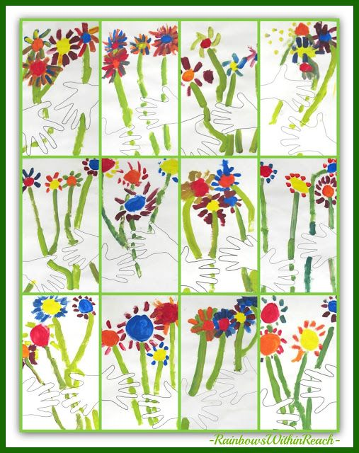 "Collage of Kindergarten ""Picasso-Inspired"" Bouquets via RainbowsWithinReach PERFECT for Mother's Day!"