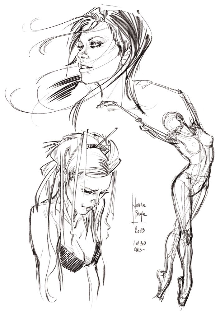 Some Sketches - Girls - by Laura Braga